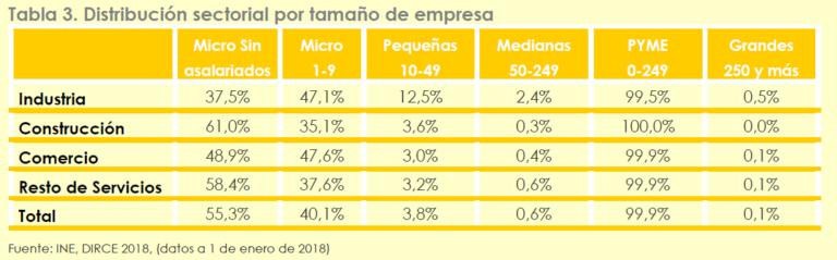 Distribución sectorial por tamaño de empresa